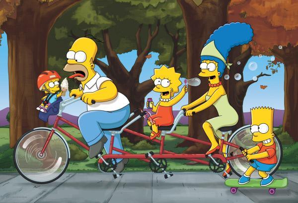 Bild 1 von 6: (27. Staffel) - Die Simpsons sind eine nicht alltägliche Familie: Maggie (l.), Marge (2.v.r.), Lisa (M.), Homer (2.v.l.) und Bart (r.) ...