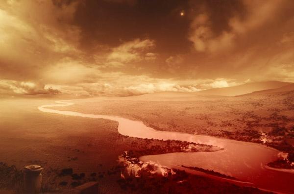 Bild 1 von 3: Der Fluss Skamandros beginnt zu brennen. Flüssige Lava mischt sich in seine Strudel.