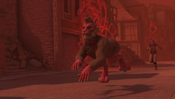 Bild 1 von 5: Der Avatar von Usman (Sargon Yelda, l.) flüchtet vor dem Avatar seiner Frau Zara (Noush Skaugen, r.).