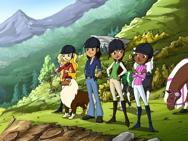 Bild 1 von 1: Die Reiterfreunde - Sarah, Benny, Alma und Molly (v.li.n.re.) - machen mit ihren Pferden einen Ausritt. Auch Chef, der Hofhund, ist mit dabei.