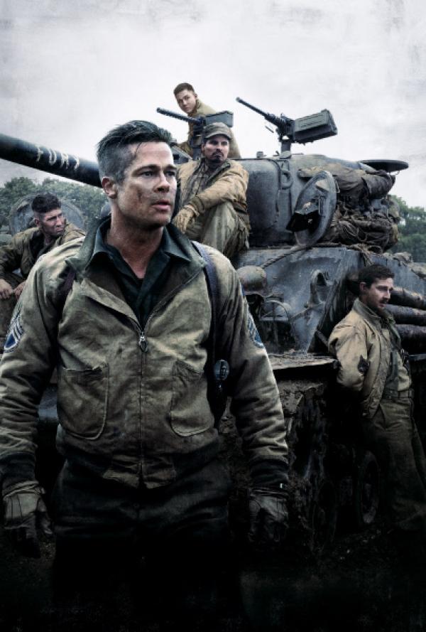 Bild 1 von 6: V.l.: Grady Travis (Jon Bernthal), Don 'Wardaddy' Collier (Brad Pitt), Norman Ellison (Logan Lerman), Trini Garcia (Michael Peña), Boyd Swan (Shia LaBeouf)