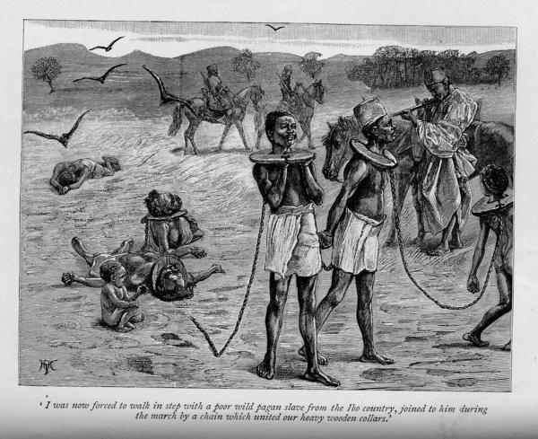 Bild 1 von 2: Verschleppung von Sklaven in Afrika (Zeichnung von 1889).