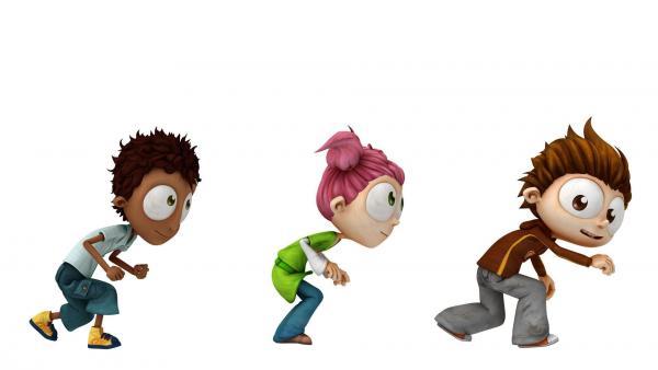 Bild 1 von 2: Der 12-jährige Angelo (re.) und seine Freunde Sherwood (li.) und Lola meistern das Leben in einer Welt, die aus Geboten und Verboten besteht mit Köpfchen und Humor.