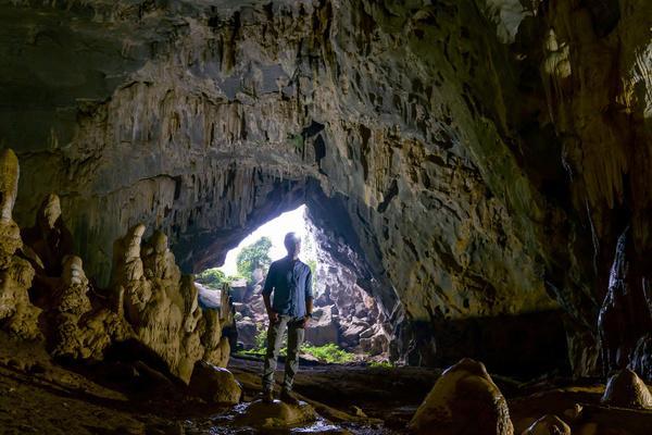 Bild 1 von 1: Dirk Steffens erkundet die Rat-Cave-Höhle in der Nähe des Phong-Nha-Ke-Bang-Nationalparks in Zentralvietnam. Unter ihm befindet sich das älteste große Kalkstein-Plateau ganz Asiens. Es ist 400 Millionen Jahre alt. In der Kalkstein-Formation entdeckten Forscher vor Kurzem die größte Höhlenpassage der Welt.