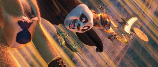 Bild 1 von 8: Furchtlos machen sich (v.l.) Monkey, Mantis, Panda Po, Tigress, Viper und Crane auf, um dem Fiesling Shen und seinen Schergen das Handwerk zu legen.