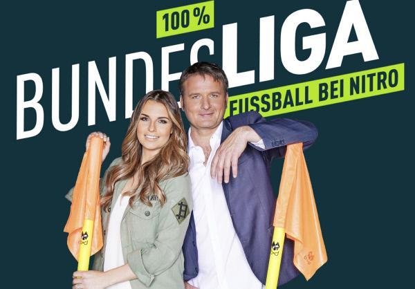 Bild 1 von 3: '100% Bundesliga' mit den Moderatoren Laura Wontorra und Thomas Wagner bilanziert umfassend den zurückliegenden Spieltag der Bundesliga und 2. Bundesliga.