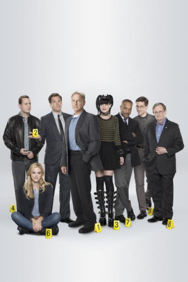 Bild 1 von 14: (13. Staffel) - Die Mitglieder des Naval Criminal Investigation Service: Abby (Pauley Perrette, 4.v.r.), Ducky (David McCallum, r.), Gibbs (Mark Harmon, 4.v.l.), Leon (Rocky Carroll, 3.v.r.), DiNozzo (Michael Weatherly, 3.v.l.), McGee (Sean Murray, l.), Jimmy (Brian Dietzen, 2.v.r.) und Ellie (Emily Wickersham, 2.v.l.) ...