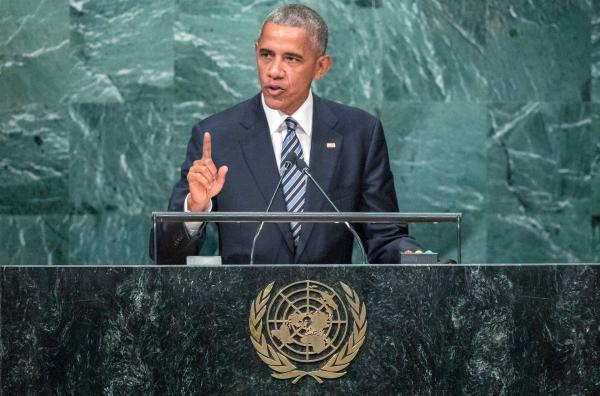 Bild 1 von 2: Barack Obama bei seiner letzten Rede vor der UNO am 20. September 2016: Er versucht an die Staatschefs der Länder zu appellieren, globale Probleme gemeinsam zu lösen.
