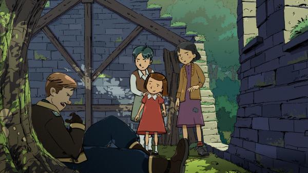 Bild 1 von 5: Die Robinson-Kinder kümmern sich um den abgestürzten Engländer.