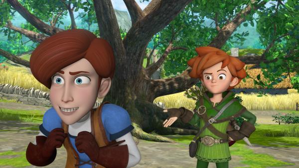 Bild 1 von 5: Robin Hood schlägt Clarence vor, mit im Team für Gerechtigkeit zu kämpfen. Denn Clarence bringt sich alleine ständig in Schwierigkeiten.