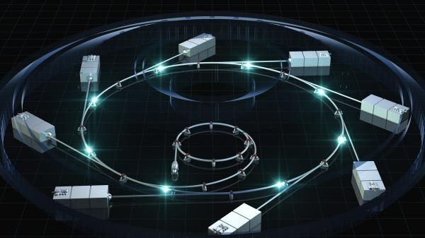 Bild 1 von 3: CGI: Traveling light particles are an integral part of the synchroton particle accelerator. In a synchroton, the magnetic field, which causes the particles to circulate, and the electric field, which accelerates the particles, are synchronized with the traveling beam of light.