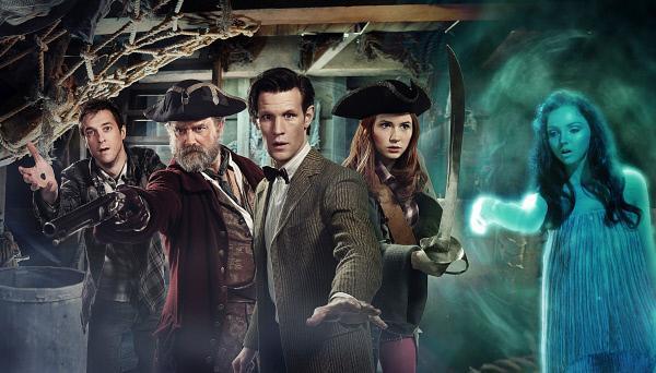 Bild 1 von 1: v.l.n.r. Rory Williams (Arthur Darvill), Avery (Hugh Bonneville), Der Doctor (Matt Smith), Amy Pond (Karen Gillan) und Sea Siren (Lily Cole)