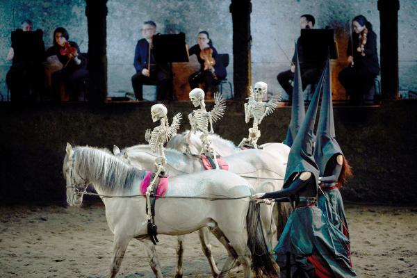 Bild 1 von 5: Die sogenannten Rossballette, ein Zusammenspiel von Musik und tanzenden Pferden, blicken auf eine Tradition zurück, die bis ins 17. Jahrhundert reicht.