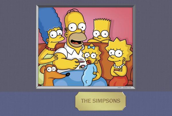 Bild 1 von 38: (24. Staffel) - Die Simpsons: Maggie (3.v.l.), Marge (l.), Homer (2.v.l.), Bart (2.v.r.) und Lisa Simpson (r.) ...