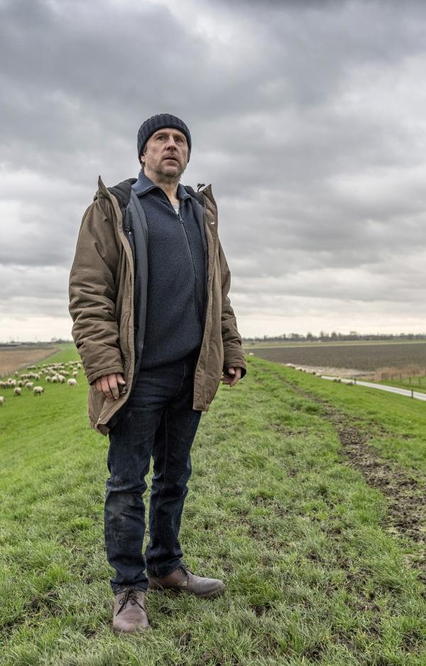 Mann (Sörensen) steht einsam auf einer Wiese im Hintergrund grasen Schafe | graue Wolken brauen sich zusammen