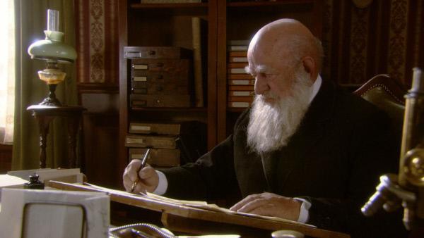 Bild 1 von 6: Charles Darwin (Manfred Eibisch) im Alter von 67 an seinem Schreibtisch in Down House.
