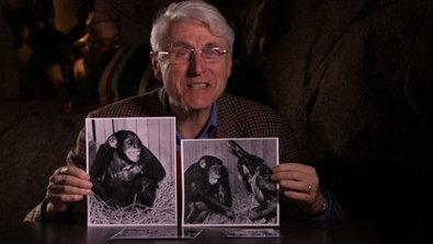 Bild 1 von 5: Professor Jan van Hoof untersucht die evolutionsbiologischen Ursprünge von Lächeln (links) und Lachen (rechts).