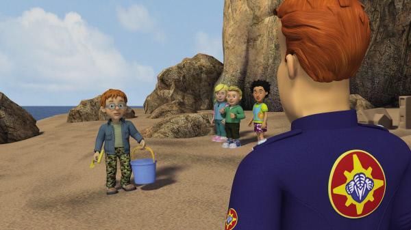 Bild 1 von 6: Feuerwehrmann Sam fragt Norman, wo die kleine Lily steckt.
