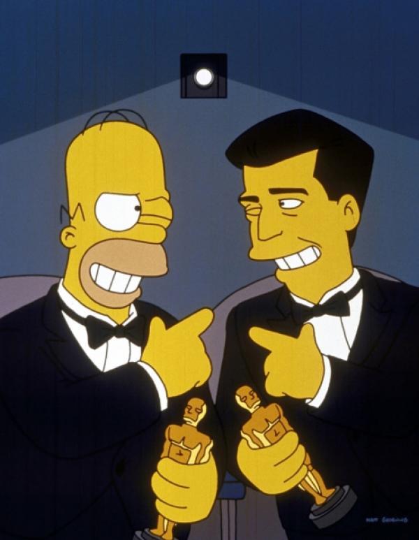"""Bild 1 von 9: Homer (l.) und Mel Gibson (r.) besuchen gemeinsam """"ihre"""" Filmpremiere."""
