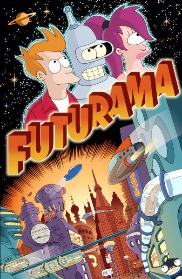 Bild 1 von 21: (5. Staffel) - Fry (l.) erkundet mit seinen Freunden Leela (r.) und Roboter Bender (M.) die unendlichen Weiten des Universums.