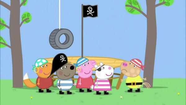 Bild 1 von 6: Peppa hat mit ihren Freunden einen geheimen Piratenschatz vergraben. Dumm ist nur, dass Pedro Ponys Brille aus Versehen in der Schatztruhe gelandet ist.