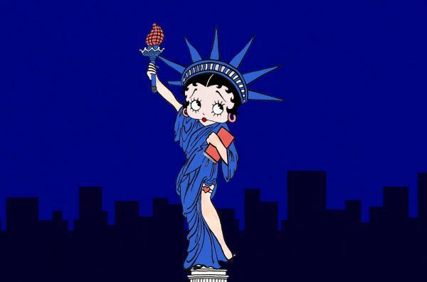 Bild 1 von 4: Eine kolorierte Version von Betty Boop als Freiheitsstatue