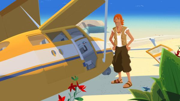 Bild 1 von 3: Jack steht unglücklich neben seinem Flugzeug, mit dem er gerade abgestürzt und auf einer einsamen Insel gelandet ist. Er ist ratlos, wie er wieder von hier wegkommen soll. Und er macht sich Sorgen um seinen neuen Hund Jackpot, den er beim Absturz verloren hat.