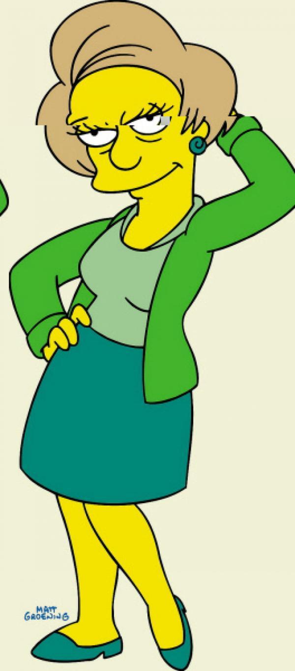 Bild 1 von 2: (13. Staffel) - Wirft sich in Pose: Barts Lehrerin Miss Krabappel.