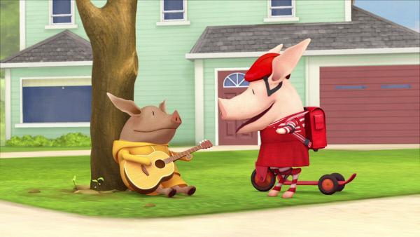 Bild 1 von 3: Das sechsjährige Schwein Olivia (re.) ist sehr einfallsreich und schlüpft gerne in unterschiedliche Rollen.