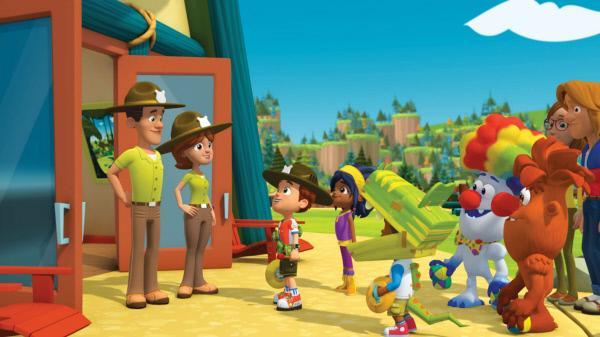 Bild 1 von 16: Ranger Rob (3.v.l.) und seine Freunde sind am Restaurant angekommen. Die Parade war ein voller Erfolg. Robs Eltern (l.) nehmen die Truppe in Empfang.