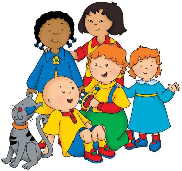 Bild 1 von 5: Caillou (un. li.) mit seinen Freunden (v. li. n. re.) Clementine, Sarah, Leo und Rosie, sowie seinem Kater Gilbert.