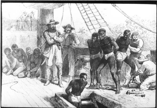 Bild 1 von 3: Sklaven werden auf das Schiff gebracht (Zeichnung, ca. 1910).