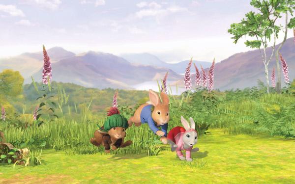 Bild 1 von 4: Peter Hase (Mi.) erkundet mit seinen Freunden Wald, Wiesen und Tümpel.