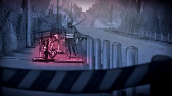 Bild 1 von 7: Szene im Comic-Stil: Als Bauarbeiter getarnte Terroristen verlegten einen Sprengdraht im Gehweg, an den sie später den Sprengsatz für die Bombe anschlossen.