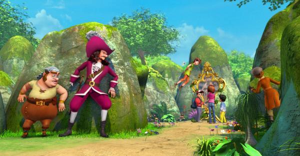 Bild 1 von 3: Gemeinsam mit Peter Pan (4.v.l)., Tinker Bell (3.v.l), Wendy (3.v.r.) und Michael (2.v.r.) will John (4.v.r.) den Unsichtbarkeitshaken suchen. Am Spiegel der Wünsche hofft er, einen Hinweis auf das Versteck des Hakens zu bekommen. Smee (l.), Captain Hook (2.v.l.) und Sienna (r.) beobachten heimlich die Kinder.
