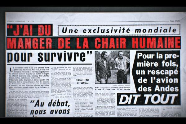 Bild 1 von 2: Zeitungen auf der ganzen Welt berichten das Unvorstellbare: Um dem sicheren Tod zu entgehen, hatten die Überlebenden des Flugzeugabsturzes vom 13. Oktober 1972 in den Anden das Fleisch ihrer toten Kameraden gegessen.