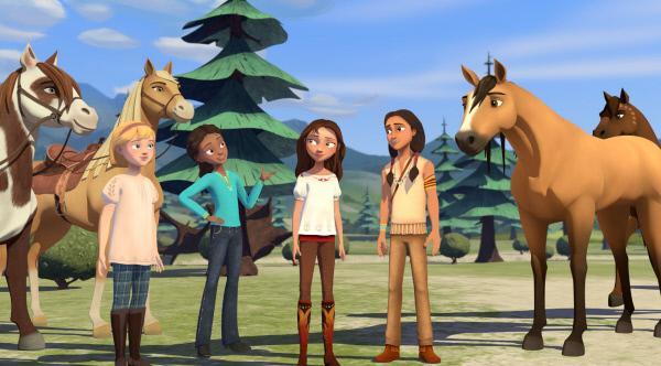 Bild 1 von 8: Abigail, Pru und Lucky (v.l.) treffen im Wald auf Mixtli (r.). Er hat Spirit geholfen, nach Hause zu finden, als dieser sich verlaufen hatte.