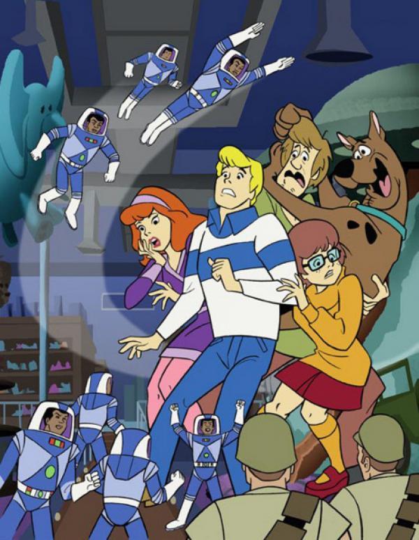 Bild 1 von 12: Dogge Scooby-Doo und die vier jungen Detektive von Mystery Inc. (v.li.: Daphne, Fred, Neville und Velma) machen unerschrocken Jagd auf Verbrecher und lösen jeden noch so mysteriösen Fall.
