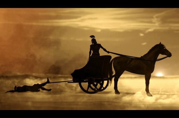 Bild 1 von 3: Mit Athenas Hilfe tötet Achilles Hektor und schleift seinen Körper zum Lager der Griechen.