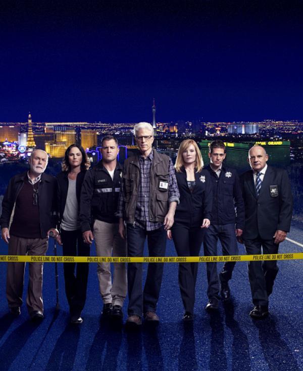 Bild 1 von 1: Das CSI-Team: V.l.: Dr. Albert Robbins (Robert David Hall), Sara Sidle (Jorja Fox), Nick Stokes (George Eads), D.B. Russell (Ted Danson), Catherine Willows (Marg Helgenberger), Greg Sanders (Eric Szmanda) und Captain Jim Brass (Paul Guilfoyle).