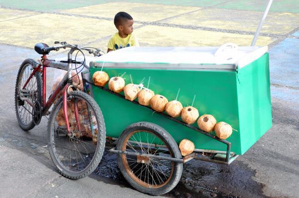 Bild 1 von 5: Impression Straßenstand mit Kind und Kokosnuss in Costa Rica