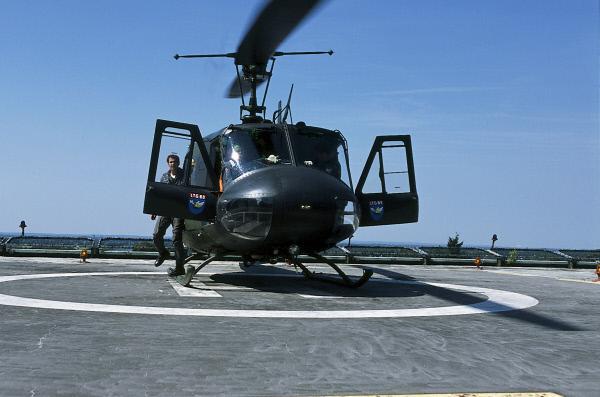 Bild 1 von 2: Der SAR 71 ist auf dem Dach des Krankenhauses gelandet.