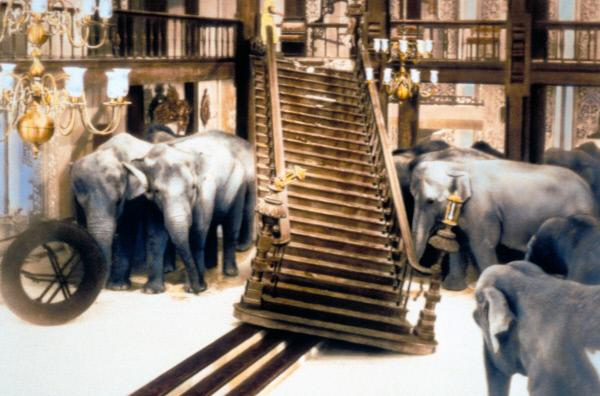 Bild 1 von 5: Wegen eines Feuers gerät eine Horde Elefanten in Panik und durchbricht die Mauern des Palastes, in dem sich Ruth (Elizabeth Taylor) befindet. Ihr Mann John (Peter Finch) rettet sie aus den Flammen, wodurch sie wieder zueinander finden.