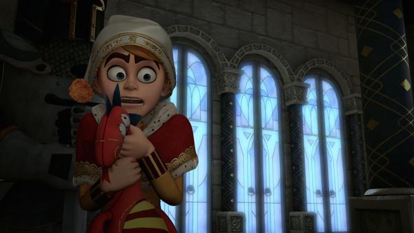 Bild 1 von 5: Über Schloss Nottingham tobt nachts ein schreckliches Unwetter. Prinz John fürchtet sich.