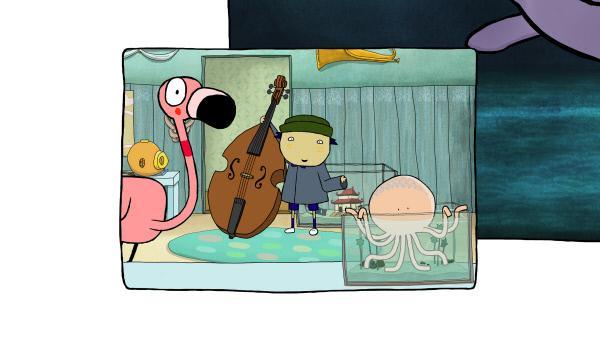 Bild 1 von 4: John glaubt, der Ton vom Riesenhai ist ein b. Er holt seinen Kontrabass, um es Sarah & Duck zu zeigen.