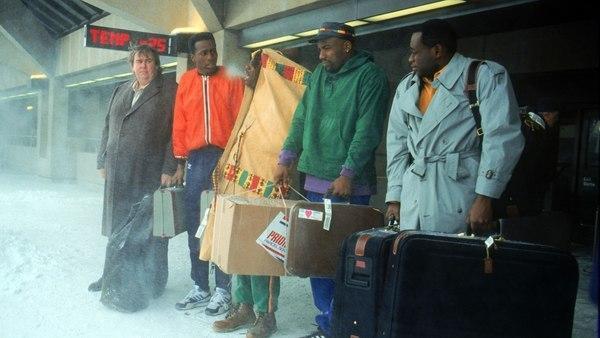 Bild 1 von 6: Die M�¤nner aus Jamaika machen erste Erfahrungen mit Schnee und K�¤lte.. (Foto, v.li.: John Candy, Leon, Doug E. Doug, Rawle D. Lewis und Malik Yoba)