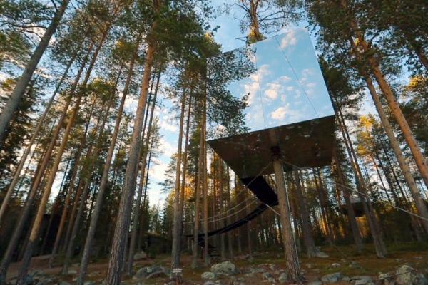 Bild 1 von 3: In Schwedisch-Lappland betreiben Britta und ihr Mann Kent ein originelles kleines Familienhotel in den Bäumen.