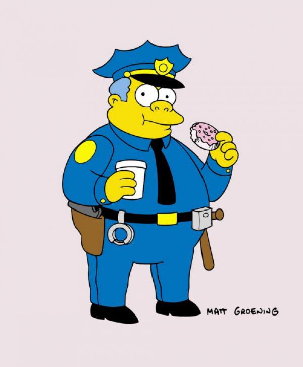 Bild 1 von 16: (13. Staffel) - Auch Chief Wiggum, Polizeichef in Springfield, ist ein Donut-Fan.
