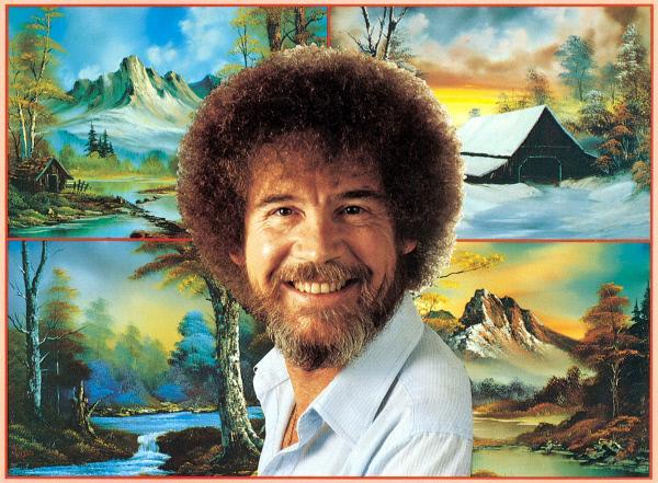 Bild 1 von 2: Bob Ross vor einem seiner Landschaftsbilder.