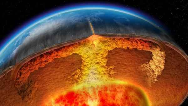 Bild 1 von 1: Vom Erdkern aufgeheiztes, verflüssigtes Gestein steigt zur Oberfläche auf. Dort teilt sich der Strom und das Gestein bewegt sich seitwärts. Dieser Verteilungsprozess zieht die Erdkruste an einigen Stellen auseinander.